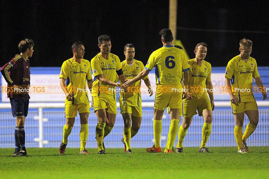 Concord celebrate their first goal scored by Ben Greenhalgh during Concord Rangers  vs Romford, BBC Essex Senior Cup Football at The Aspect Arena, Canvey Island, England on 08/12/2015