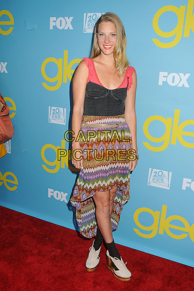 """Heather Morris.""""Glee"""" Academy Screening and Q&A held at the A.T.A.S. Leonard H. Goldenson Theatre, North Hollywood, California, USA..May 1st, 2012.full length pink black corset aztec print dress green purple brown.CAP/ADM/BP.©Byron Purvis/AdMedia/Capital Pictures."""