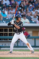 Tyler Saladino (8) of the Charlotte Knights at bat against the Lehigh Valley IronPigs at BB&T BallPark on May 30, 2015 in Charlotte, North Carolina.  The IronPigs defeated the Knights 1-0.  (Brian Westerholt/Four Seam Images)