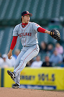 Junichi Tazawa #16 of the Portland Sea Dogs in action at Waterfront Park May 12, 2009 in Trenton, New Jersey. (Photo by Brian Westerholt / Four Seam Images)