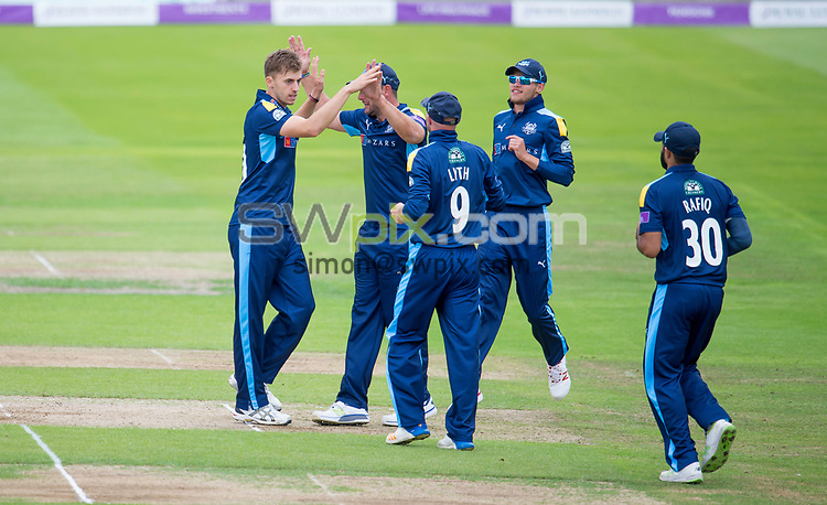 Picture by Allan McKenzie/SWpix.com - 13/06/2017 - Cricket - Royal London One-Day Cup - Yorkshire County Cricket Club v Surrey County Cricket Club - Headingley Cricket Ground, Leeds, England - Yorkshire's Ben Coad is congratulated on dismissing Surrey's Mark Stoneman.