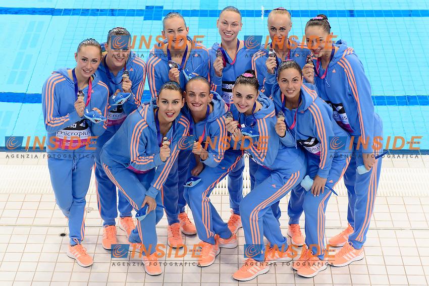 UKRAINE UKR Silver Medal <br /> ANANASOVA Lolita VOLOSHYNA Anna IUSHKO Daria <br /> GRECHYKHINA Olena ZOLOTAROVA Olha REZNIK Kateryna <br /> SAVCHUK Anastasiya SYDORENKO Kseniya SABADA Oleksandra SADURSKA Kateryna<br /> Free Combination Final <br /> London, Queen Elizabeth II Olympic Park Pool <br /> LEN 2016 European Aquatics Elite Championships <br /> Synchronized Swimming <br /> Day 04 12-05-2016<br /> Photo Andrea Staccioli/Deepbluemedia/Insidefoto