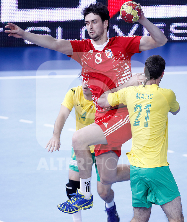 Croatia's Marko Kopljar (l) and Australia's Ognjen Matic during 23rd Men's Handball World Championship preliminary round match.January 12 ,2013. (ALTERPHOTOS/Acero)