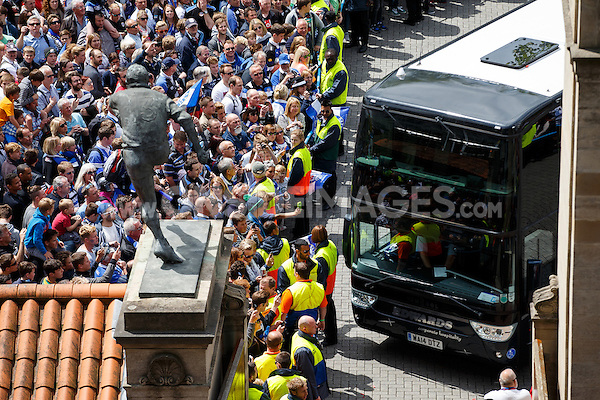 The Bath Rugby team arrive at Twickenham. Aviva Premiership Final, between Bath Rugby and Saracens on May 30, 2015 at Twickenham Stadium in London, England. Photo by: Rogan Thomson for Onside Images