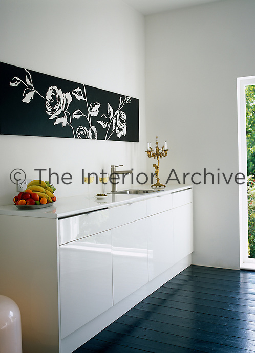 A black and white artwork graces a wall in the kitchen above a sink and work top