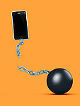 Cellphone breaking away from ball and chain, breaking a contract, contract-free service, conceptual illustration on bright orange background