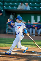 Niko Hulsizer (12) of the Ogden Raptors bats during a game against the Grand Junction Rockies at Lindquist Field on September 7, 2018 in Ogden, Utah. The Rockies defeated the Raptors 8-5. (Stephen Smith/Four Seam Images)