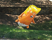 """Baby President Donald J. Trump"" balloon outside the grounds of the President Donald J. Trump National Golf Club as United States President Donald J. Trump departs following a round of golf on Saturday, July 13, 2019.<br /> Credit: Ron Sachs / Pool via CNP"