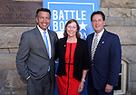 From left, Gov. Brian Sandoval, Pam Robinson and Lt. Gov. Brian Krolicki pose with their medallions from the fourth and final in a commemorative Sesquicentennial series at the Nevada State Museum, in Carson City, Nev., on Wednesday, Sept. 3, 2014. <br /> Photo by Cathleen Allison