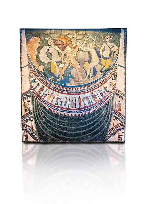 4th Century AD Roman Opus Sectile Mosaic depicting nymphs from the basilica de Giunio Basso .  Museo Nazionale Romano ( National Roman Museum), Rome, Italy. Against a white background.