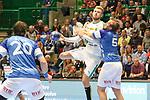 BHCs Max Darj (Nr.05) verteidigt am Kreis im Spiel der Handballliga, Bergischer HC - SC DHFK Leipzig.<br /> <br /> Foto &copy; PIX-Sportfotos *** Foto ist honorarpflichtig! *** Auf Anfrage in hoeherer Qualitaet/Aufloesung. Belegexemplar erbeten. Veroeffentlichung ausschliesslich fuer journalistisch-publizistische Zwecke. For editorial use only.