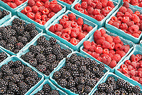 Raspberries and blackberries at Lake Oswego Farmers Market. Oregon