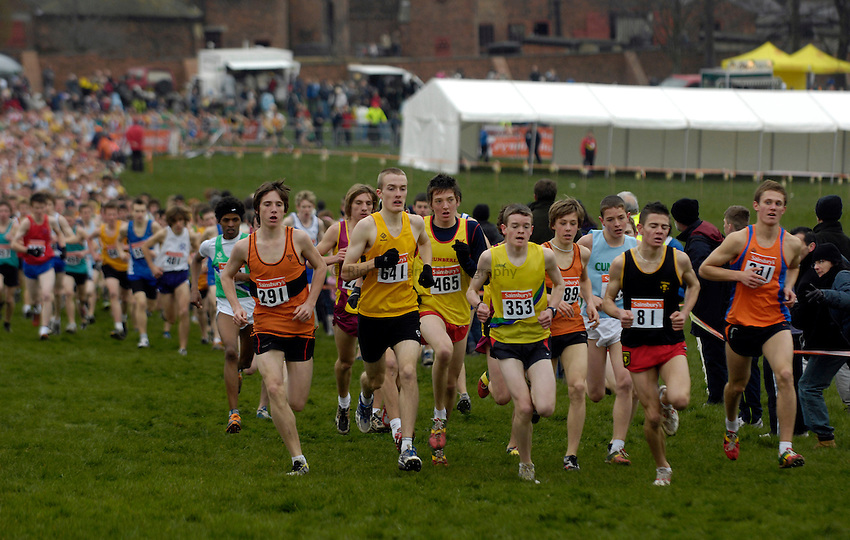 Photo: Jed Wee/Richard Lane Photography..Sainsbury's English Schools Cross Country. 24/03/2007...Participants in the Intermediate Boys race.