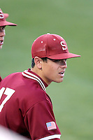AJ Vanegas #17 of the Stanford Cardinal watches his teammates play against the Arizona State Sun Devils on April 29, 2011 at Packard Stadium, Arizona State University, in Tempe, Arizona. .Photo by:  Bill Mitchell/Four Seam Images.