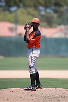 San Francisco Giants Orange relief pitcher Yoel Veras (67) prepares to deliver a pitch during an Extended Spring Training game against the Oakland Athletics at the Lew Wolff Training Complex on May 29, 2018 in Mesa, Arizona. (Zachary Lucy/Four Seam Images)