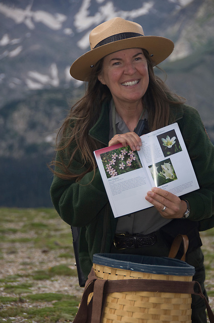 Ranger led program, ranger, Leanne Benton, interpretation, portrait, NPS, alpine tundra, summer, afternoon, Trail Ridge, Rocky Mountain National Park, Colorado, USA