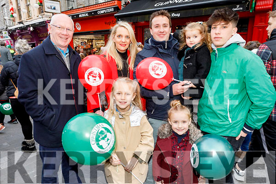 The Sheehy from Tralee family enjoying the CH Chemist's Santa parade on Saturday<br /> Front Roisin and Alva Sheehy.<br /> Back l to r: John Brassil TD, Susanne, Mikey and Cara Sheehy and Guim Batet.