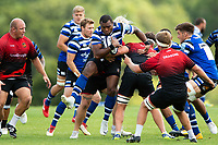 Semesa Rokoduguni of Bath Rugby in action against the visiting Dragons team. Bath Rugby pre-season training on August 8, 2018 at Farleigh House in Bath, England. Photo by: Patrick Khachfe / Onside Images