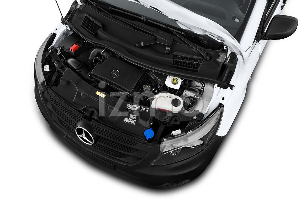 Car stock 2019 Mercedes Benz Metris Base 5 Door Cargo Van engine high angle detail view