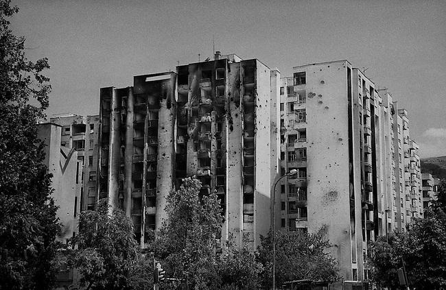 Mostar, Bosnia, 1993.<br /> <br /> Shelled building, Mostar.