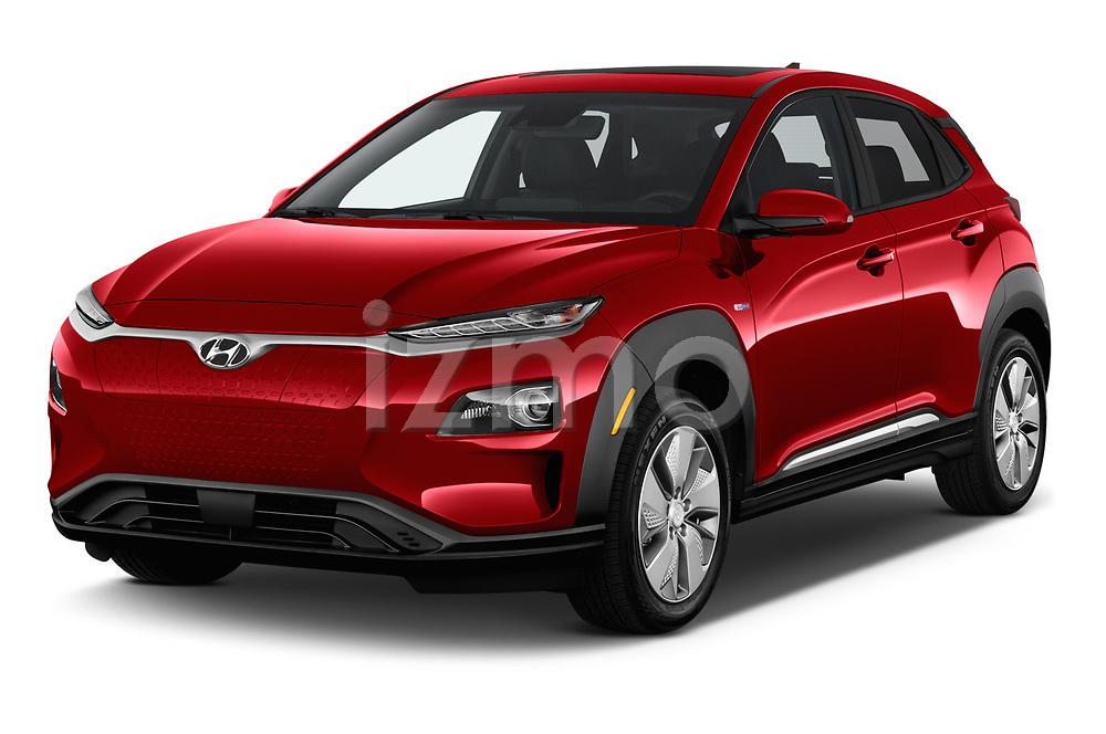 2019 Hyundai Kona-EV Ultimate 5 Door SUV Angular Front stock photos of front three quarter view