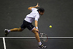 BANGKOK, THAILAND - SEPTEMBER 30:  Benjamin Becker of Germany returns a shot against Fernando Verdasco of Spain during the Day 6 of the PTT Thailand Open at Impact Arena on September 30, 2010 in Bangkok, Thailand. Photo by Victor Fraile / The Power of Sport Images
