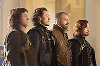 LOGAN LERMAN, LUKE EVANS, RAY STEVENSON & MATTHEW MACFADYEN.in The Three Musketeers .*Filmstill - Editorial Use Only*.CAP/PLF.Supplied by Capital Pictures.
