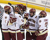 Carl Sneep (BC - 7), Brian Dumoulin (BC - 2), Paul Carey (BC - 22), Ben Smith (BC - 12), Brian Gibbons (BC - 17) - The Boston College Eagles defeated the Northeastern University Huskies 5-1 on Saturday, November 7, 2009, at Conte Forum in Chestnut Hill, Massachusetts.