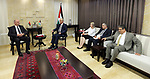 Palestinian Prime Minister Rami Hamdallah meets with President of Brandenburg County Federal German Dietmar Vuidke in the West Bank city of Ramallah on May, 2 2018. Photo by Prime Minister Office