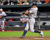 New York Yankees right fielder Ichiro Suzuki (31) doubles in the tenth inning against the Baltimore Orioles at Oriole Park at Camden Yards in Baltimore, Maryland on Monday, May 20, 2013.  He later scored the winning run.  The Yankees won the game 6 - 4..Credit: Ron Sachs / CNP.(RESTRICTION: NO New York or New Jersey Newspapers or newspapers within a 75 mile radius of New York City)