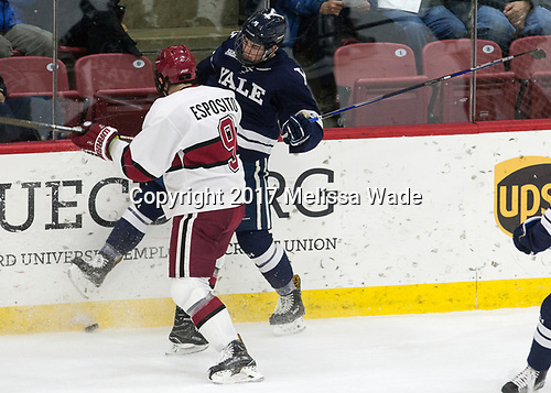 Luke Esposito (Harvard - 9), Matt Foley (Yale - 4) - The Harvard University Crimson tied the visiting Yale University Bulldogs 1-1 on Saturday, January 21, 2017, at the Bright-Landry Hockey Center in Boston, Massachusetts.