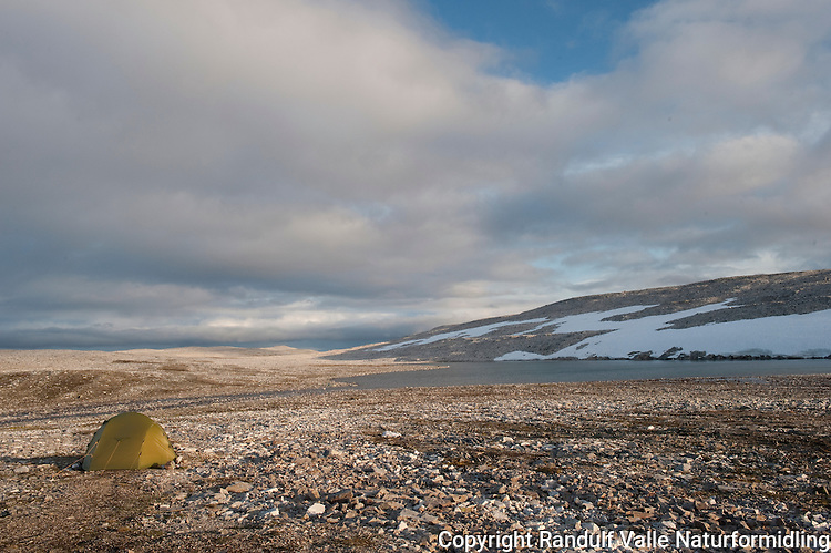 Teltleir i goldt høyfjellsterreng på Nordkynn. ---- Tent in mountain terrain.
