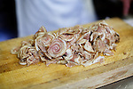 SOUTH EGREMONT, MA - JUNE 17, 2014: Thinly sliced discs of 'Lambcetta' at John Andrews Farmhouse Restaurant. Chef Dan Smith uses locally-sourced lamb belly for his take on Italian pancetta. <br /> CREDIT: Clay Williams.<br /> <br /> &copy; Clay Williams / http://claywilliamsphoto.com