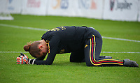 20191006 TUBIZE: Red Flames' keeper Diede Lemey is pictured doing a stretch at the Open Training of Red Flames on Sunday 6th of October 2019, Tubize, Belgium  PHOTO SPORTPIX.BE | SEVIL OKTEM