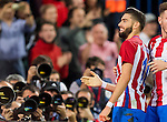 Yannick Ferreira Carrasco (l) of Club Atletico de Madrid celebrates with teammate Saul Niguez Esclapez during their La Liga match between Club Atletico de Madrid and Malaga CF at the Estadio Vicente Calderón on 29 October 2016 in Madrid, Spain. Photo by Diego Gonzalez Souto / Power Sport Images