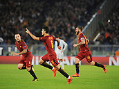 31st October 2017, Stadio Olimpico, Rome, Italy; UEFA Champions League, Roma versus Chelsea; Diego Perotti of AS Roma celebrates his goal