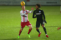 Tom Conlon of Stevenage and Isaiah Brown of Brighton during Stevenage vs Brighton & Hove Albion Under-21, Checkatrade Trophy Football at the Lamex Stadium on 7th November 2017