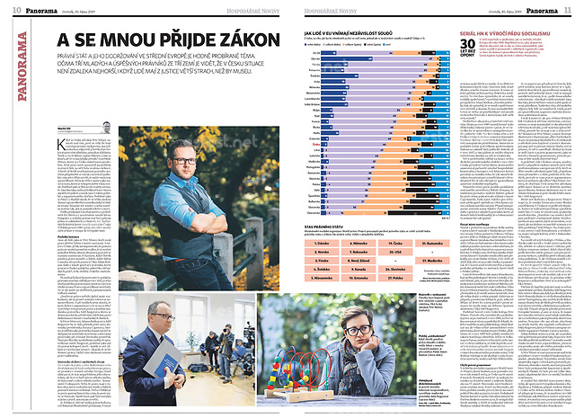 Hospodarske Noviny (Czech economic daily) on the fight for the rule of law (picture below to the right). Budapest, Hungary, 10.2019