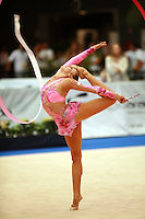Marina Shpekt of Russia pivot turns in ring position with ribbon at 2006 Portimao World Cup of Rhythmic Gymnastics on September 9, 2006.  (Photo by Tom Theobald)  Photo note: Image available only in small size, low resolution..