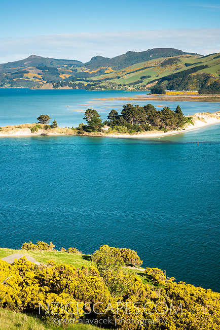 Entrance into Otago Harbour at Taiaroa Head on Otago Peninsula with sand spit, Coastal Otago, East Coast, New Zealand