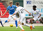 St Johnstone v Inverness Caley Thistle...08.08.15...SPFL..McDiarmid Park, Perth.<br /> Liam Craig is closed down by Ryan Christie and Andrea Mutombo<br /> Picture by Graeme Hart.<br /> Copyright Perthshire Picture Agency<br /> Tel: 01738 623350  Mobile: 07990 594431