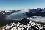 Aerial view of Aialik Bay and Aialik Glacier in Kenai Fjords National Park, Alaska. Viewed to south.