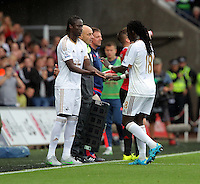 Pictured L-R: Eder substitutes team mate Bafetimbi Gomis of Swansea Sunday 30 August 2015<br /> Re: Premier League, Swansea v Manchester United at the Liberty Stadium, Swansea, UK