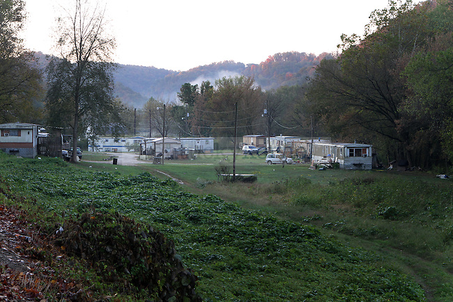 """A small trailer park sits on the side of Old Quicksand Road in Breathitt County, Ky. The trailer park is home to Wendy Haddix and Nicole Hensley, a mother and daughter. ..Hensley is being home-schooled by her mother after having a serious car accident in June 2010. When Haddix visited her daughter in the hospital she thought, """"it just wasn't my Nicole."""" .Photo by Latara Appleby"""