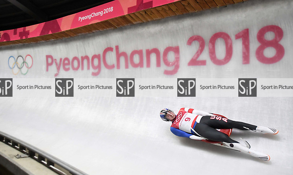 Tucker West (USA). Mens luge. Pyeongchang2018 winter Olympics. Alpensia sliding centre. Alpensia. Gangneung. Republic of Korea. 11/02/2018. ~ MANDATORY CREDIT Garry Bowden/SIPPA - NO UNAUTHORISED USE - +44 7837 394578