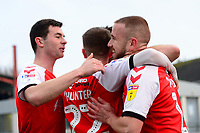 Fleetwood Town's Paddy Madden celebrates scoring his side's first goal with his team-mates<br /> <br /> Photographer Richard Martin-Roberts/CameraSport<br /> <br /> The EFL Sky Bet League One - Fleetwood Town v Doncaster Rovers - Wednesday 26th December 2018 - Highbury Stadium - Fleetwood<br /> <br /> World Copyright © 2018 CameraSport. All rights reserved. 43 Linden Ave. Countesthorpe. Leicester. England. LE8 5PG - Tel: +44 (0) 116 277 4147 - admin@camerasport.com - www.camerasport.com