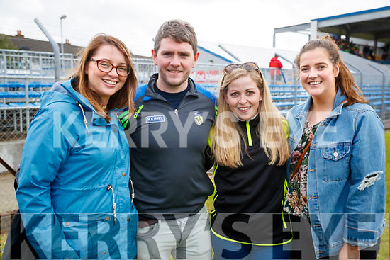 Pictured at the Kerry v Clare Munster Senior Football Semi-Final at Cusack, Park, Ennis on Sunday last were l-r: Ciara Power, Liam Kennelly, Crystal Stack and Evelyn Linnane.