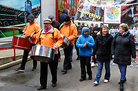 The steel drummers arrive as part of the Red, White & Black day procession in support of Charlton Athletic Race & Equality Partnership (CARE) during the Sky Bet League 1 match between Charlton Athletic and Fleetwood Town at The Valley, London, England on 17 March 2018. Photo by Carlton Myrie.