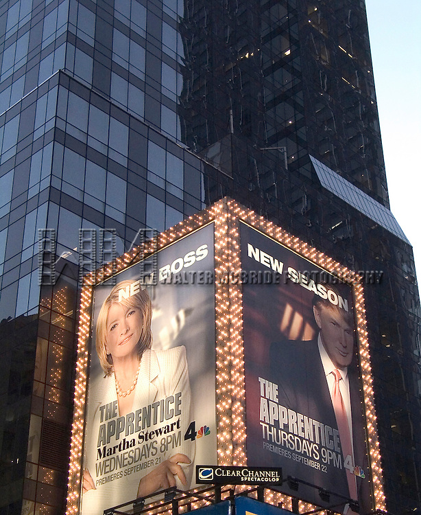 Billboard Promotion Poster for the new NBC show<br /> THE APPRENTICE - Martha Stewart (New Boss) iand the returning Hit Series THE APPRENTICE - Donald Trump n Times Square, New York City on October 4, 2005.