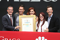 UNIVERSAL CITY, CA - AUGUST 2: Eric McCormack, Debra Messing, Megan Mullally and Sean Hayes at the Will & Grace Start Of Production Kick-Off Event at Universal City Plaza, California on August 2, 2017. Credit: Faye Sadou/MediaPunch